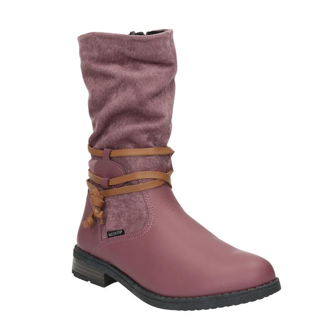Kožené dievčenské čižmy mini-b, ružová, 394-5100 - 13