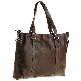 Kožená kabelka s odnímatelným popruhom bata, hnedá, 964-4132 - 13