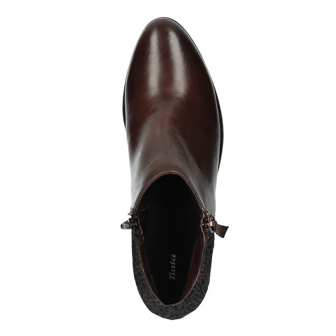 Kožená členková obuv na nízkom podpätku bata, červená, 696-5613 - 19