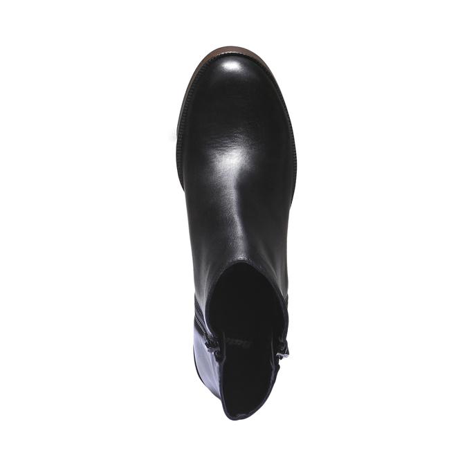 Kožená členková obuv na podpätku bata, čierna, 794-6584 - 19