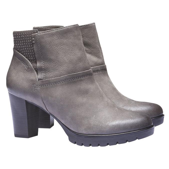 Kožená členková obuv bata, šedá, 796-2122 - 26