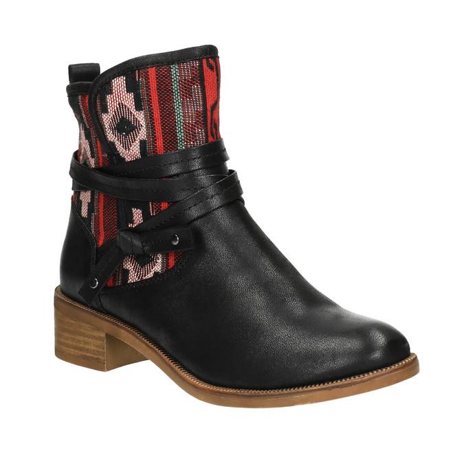 Členková obuv s Etno vzorom bata, čierna, 599-6604 - 13