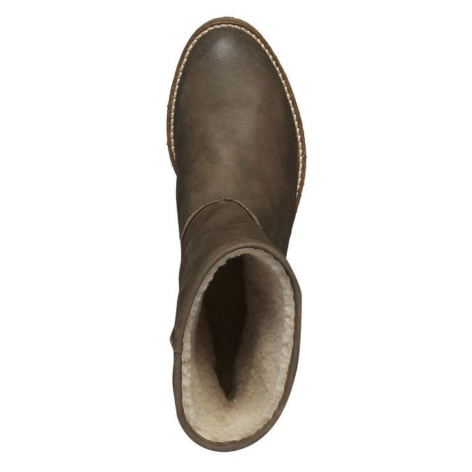 Kožené čižmy s kožúškom bata, zelená, 596-7105 - 19