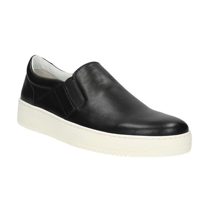 Pánske kožené Slip-on bata, čierna, 844-6630 - 13