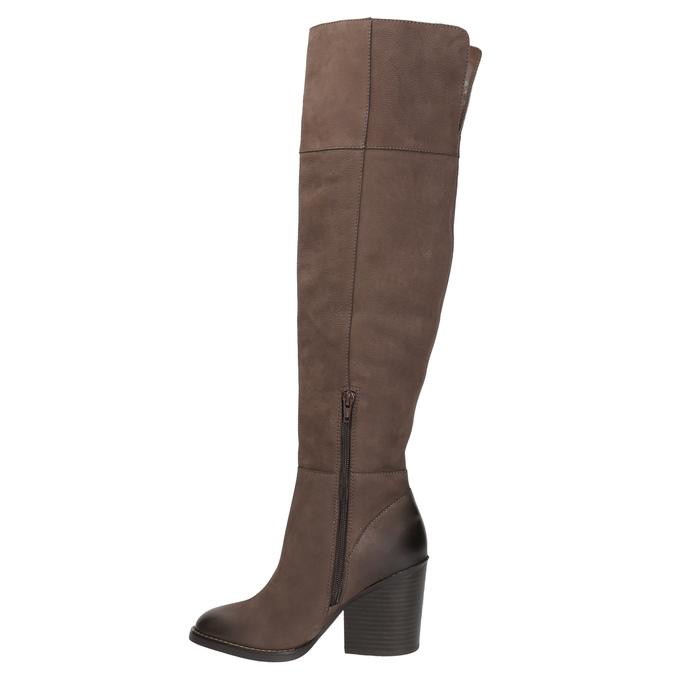 Kožené čižmy nad kolená na masivnom podpätku bata, hnedá, 696-4611 - 19