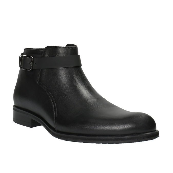 Kožená členková obuv s prackou conhpol, čierna, 894-6680 - 13