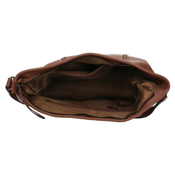 Kožená kabelka v Hobo štýle bata, hnedá, 964-3206 - 15