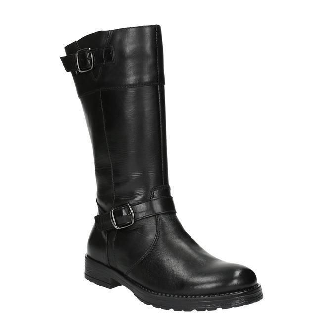 Dievčenské kožené čižmy mini-b, čierna, 394-6190 - 13