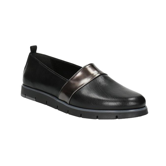 Dámske kožené Slip-on čierne flexible, čierna, 514-6252 - 13