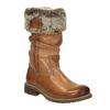 Kožené čižmy s kožúškom bata, hnedá, 594-3612 - 13