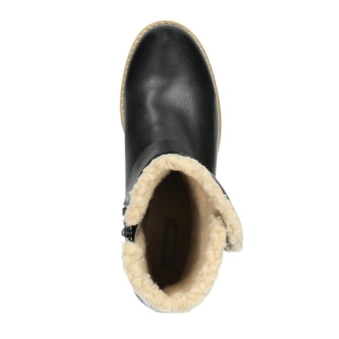 Dámska obuv s kožúškom bata, čierna, 594-6609 - 19