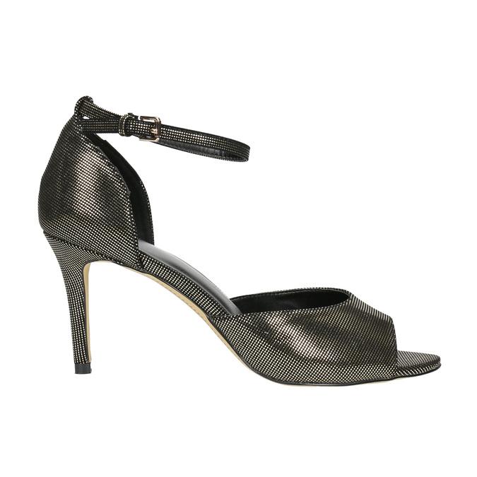 Sandále na ihličkovom podpätku so zlatými odleskami bata, čierna, 729-8630 - 15