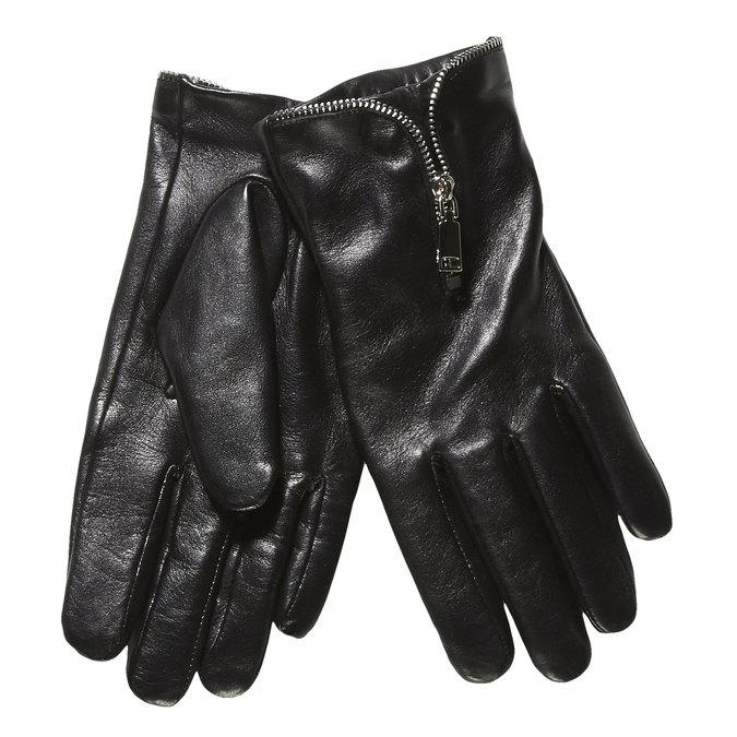 Dámske kožené rukavice so zipsom bata, čierna, 904-6111 - 13