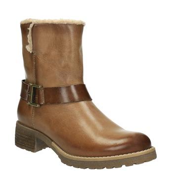 Kožená zimná obuv s kožúškom bata, hnedá, 594-4609 - 13
