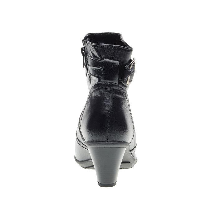Kožená členková obuv na skosenom podpätku bata, čierna, 694-6130 - 17