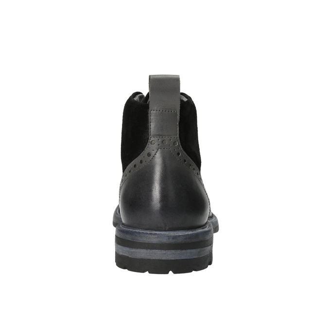 Kožená členková obuv s Brogue zdobením bata, šedá, 896-2646 - 17