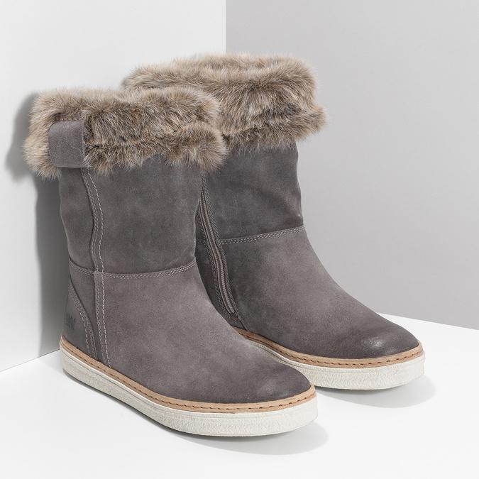 Kožená zimná obuv s kožúškom weinbrenner, šedá, 596-2633 - 26