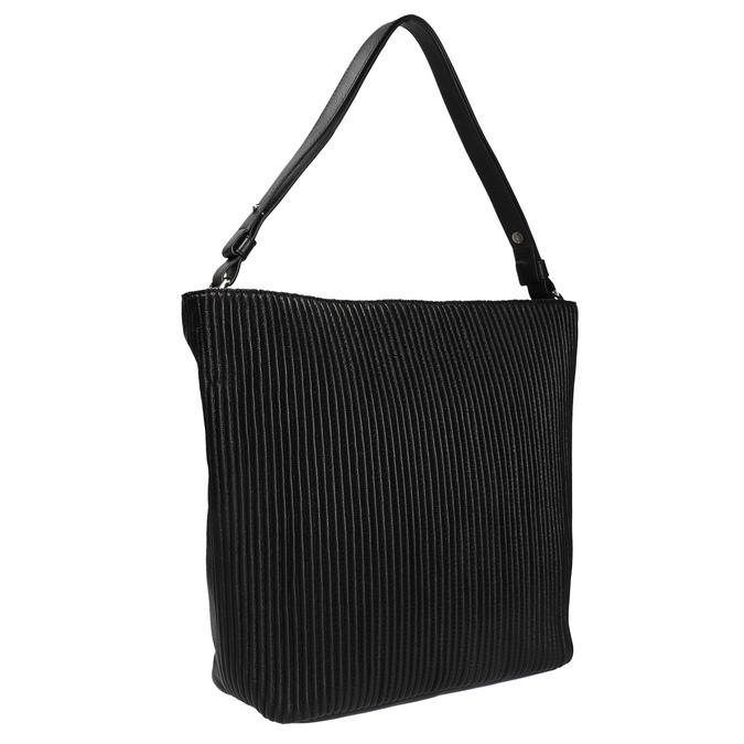 Kožená kabelka v Hobo štýle bata, čierna, 964-6216 - 13