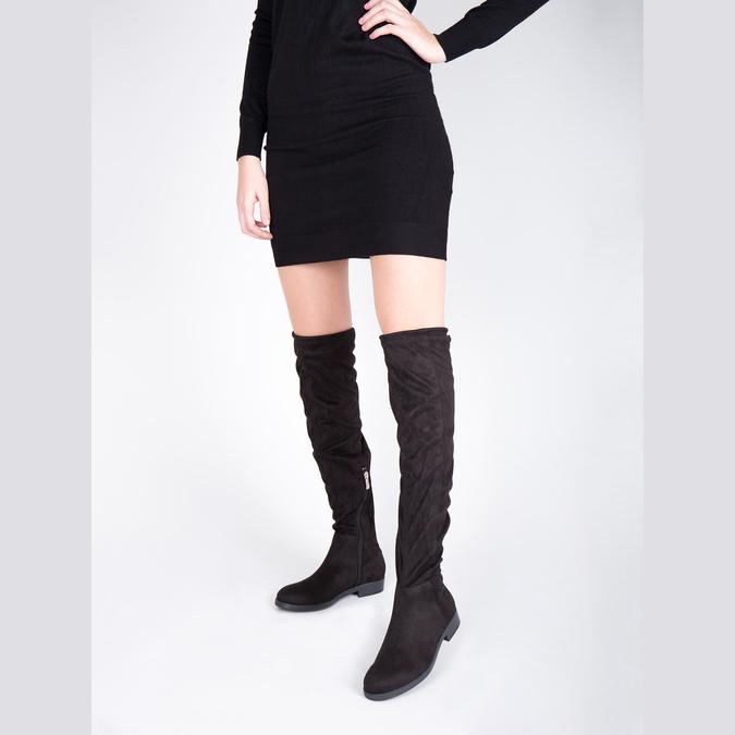 Dámske čižmy nad kolená bata, čierna, 599-6608 - 18