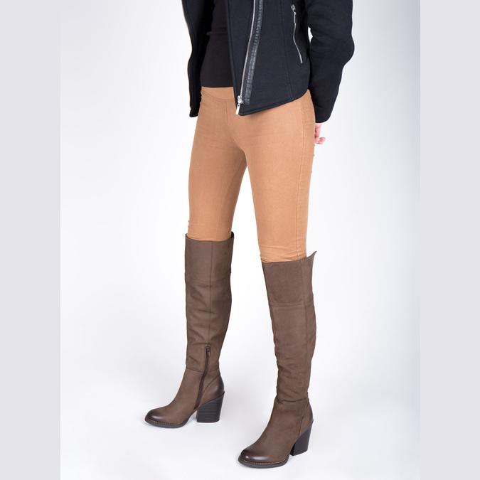 Kožené čižmy nad kolená na masivnom podpätku bata, hnedá, 696-4611 - 18