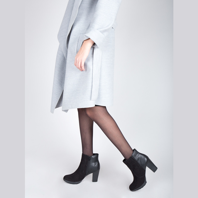 Členková obuv na podpätku bata, čierna, 791-6602 - 18