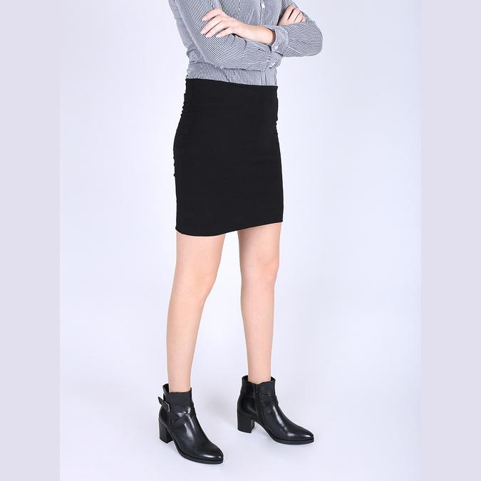 Kožená členková obuv na podpätku bata, čierna, 796-6609 - 18