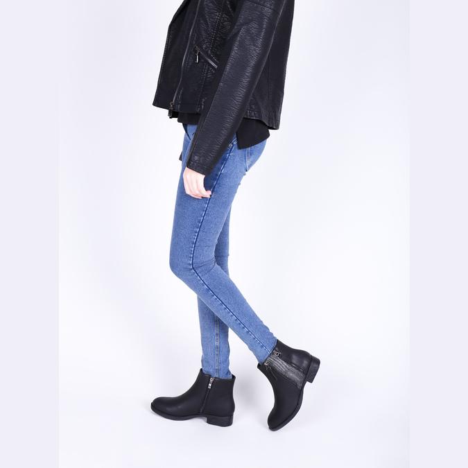 Dámska členková  obuv so zipsami bata, čierna, 591-6612 - 18