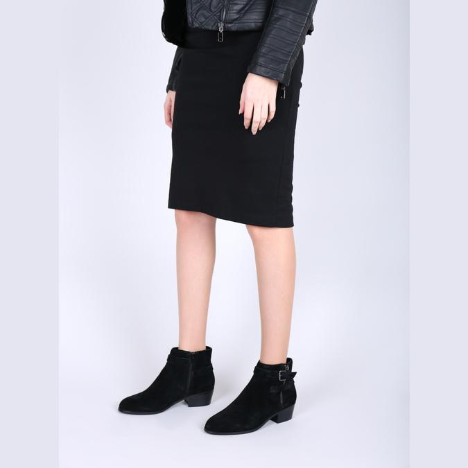 Ćlenková obuv z brúsenej kože bata, čierna, 693-6600 - 18