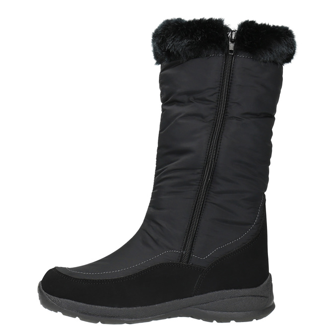 Čierne snehule s kožúškom bata, čierna, 599-6613 - 19