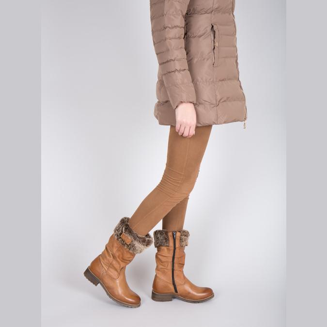 Kožené čižmy s kožúškom bata, hnedá, 594-3612 - 18