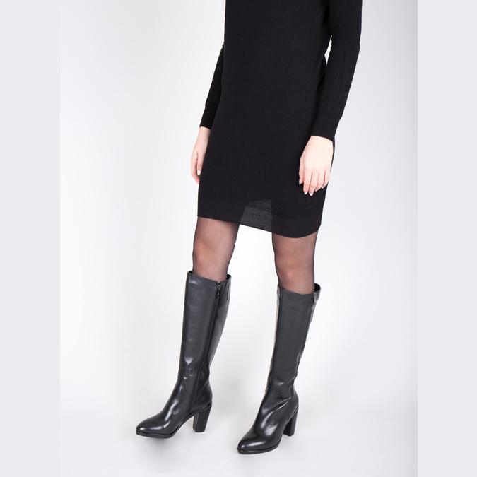 Kožené čižmy pre širšie lýtka bata, čierna, 694-6635 - 18