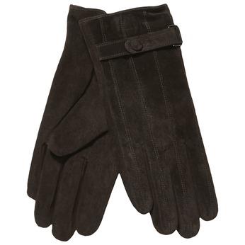 Kožené dámske rukavice s remienkom bata, hnedá, 903-4100 - 13