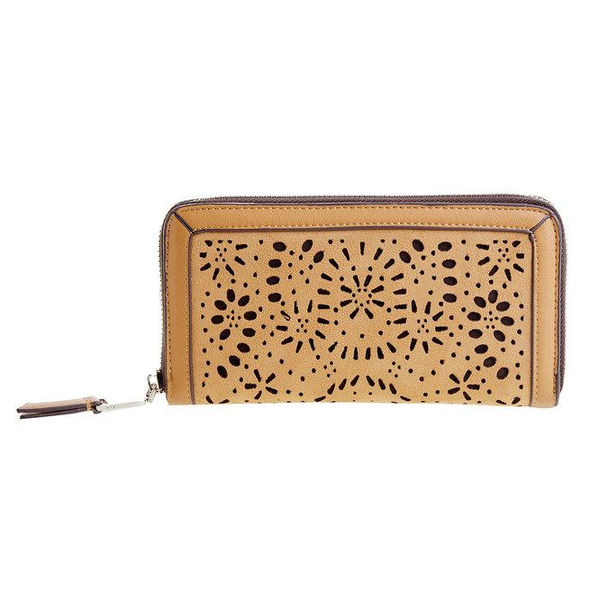 Dámska peňaženka s perforáciou bata, hnedá, 941-3131 - 26
