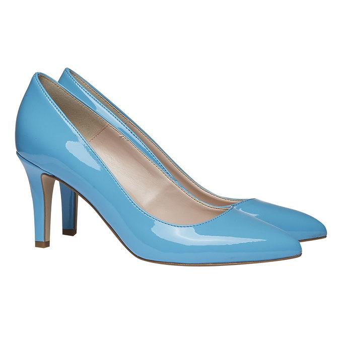 Modré kožené lodičky bata, modrá, 728-9955 - 26