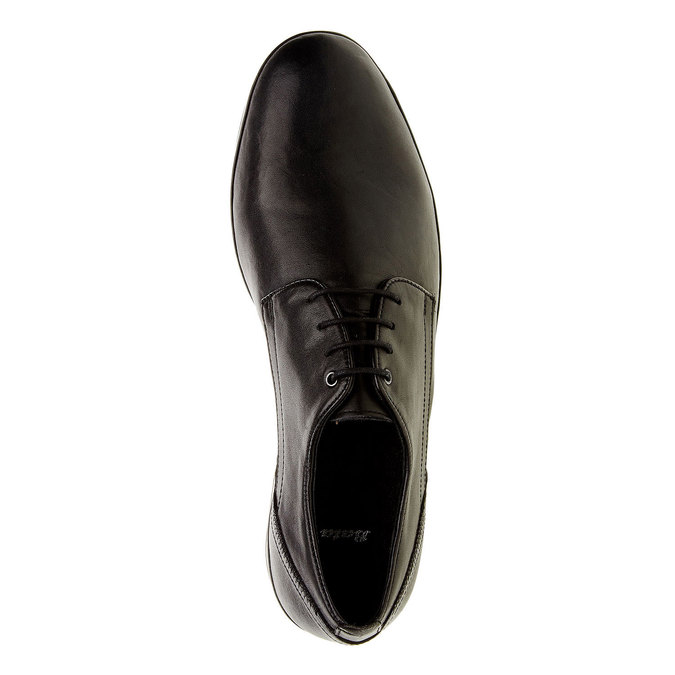 Kožené poltopánky v Derby strihu bata, čierna, 824-6300 - 19