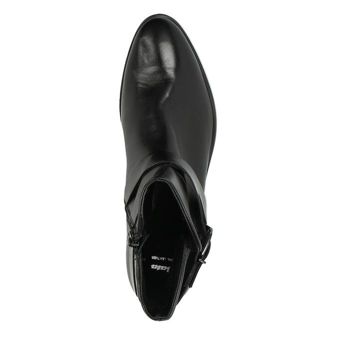 Kožená členková obuv s prackou bata, čierna, 594-6602 - 19