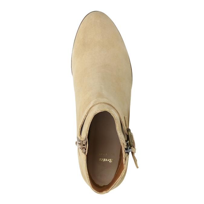 Dámska členková obuv z brúsenej kože bata, béžová, 693-1600 - 19