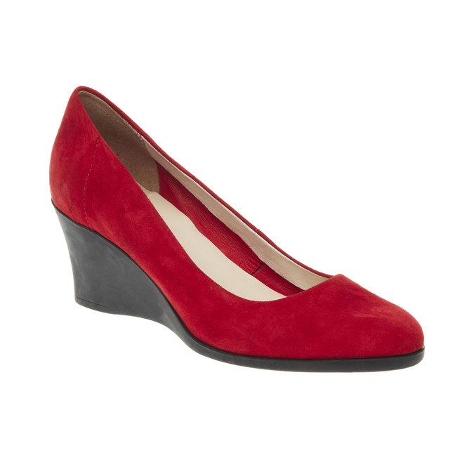 Kožené lodičky na klinovom podpätku flexible, červená, 623-5395 - 13