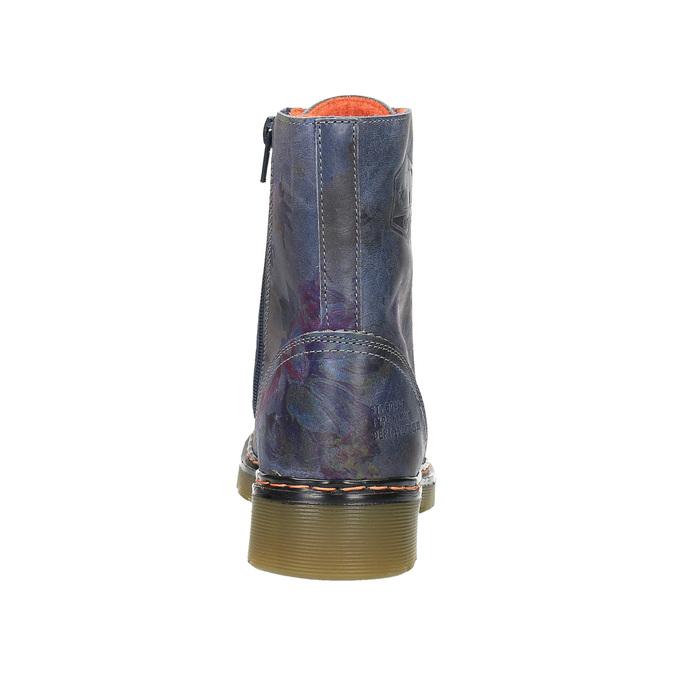 Kožená členková obuv s kvetinovým motívom bata, modrá, 596-9609 - 17