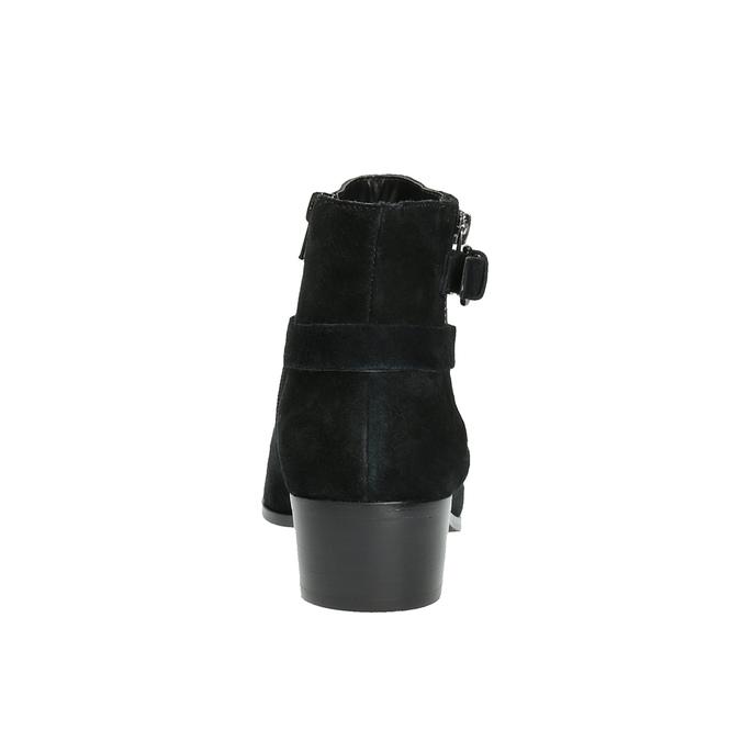 Ćlenková obuv z brúsenej kože bata, čierna, 693-6600 - 17