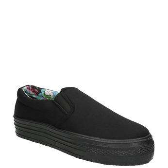 Čierne Slip-on na širokej podrážke bata, čierna, 529-6631 - 13