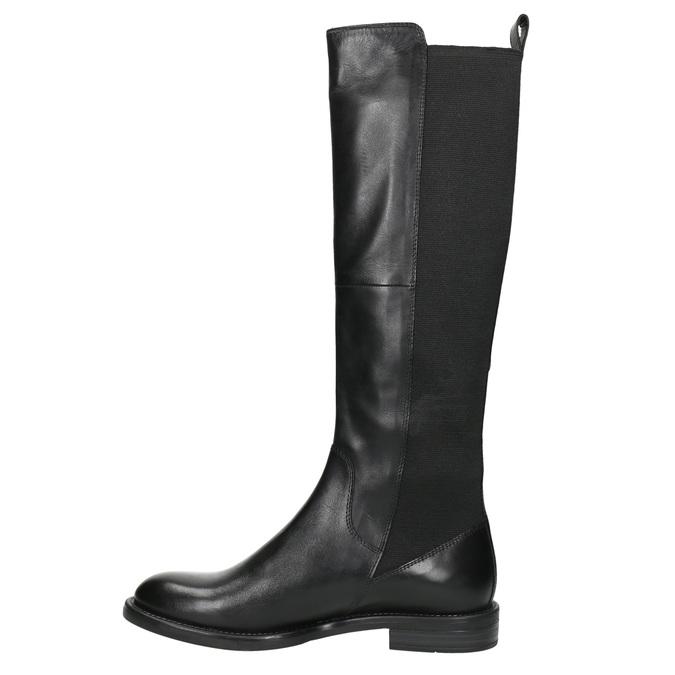 Dámske kožené čižmy bez zipsu vagabond, čierna, 594-6003 - 26
