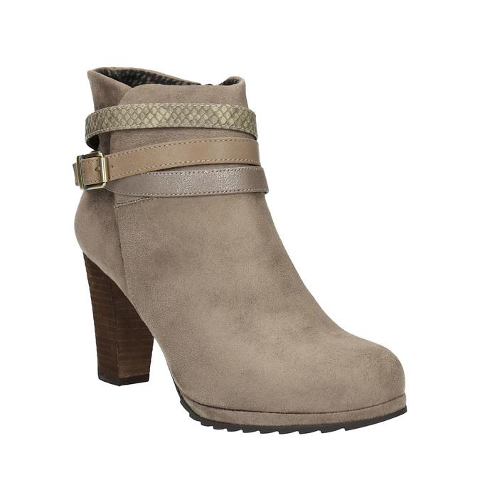Dámská členková obuv na vysokom podpätku bata, béžová, 799-2603 - 13