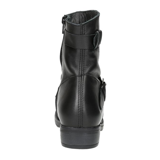 Dámske kožené čižmy s prackou bata, čierna, 596-6141 - 17