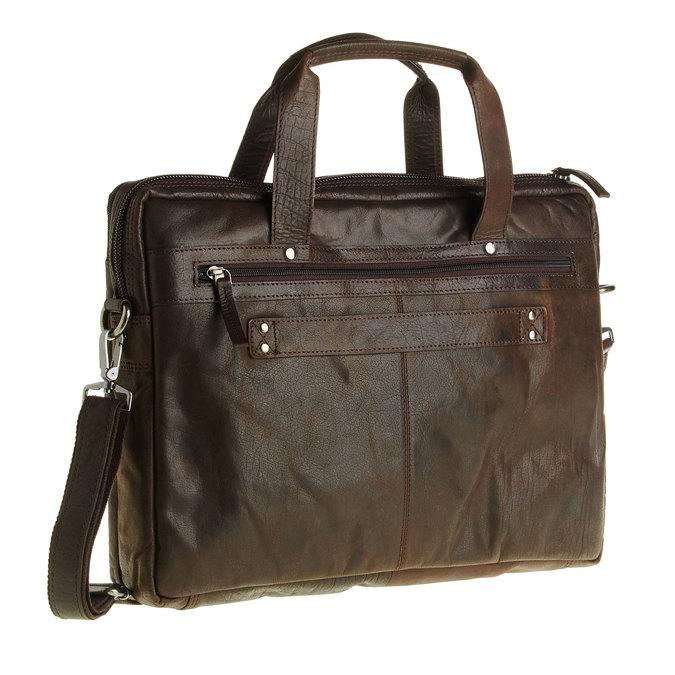 Kožená taška so zipsom bata, hnedá, 964-4101 - 13