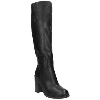 Dámske čižmy na silnejšom podpätku bata, čierna, 791-6612 - 13