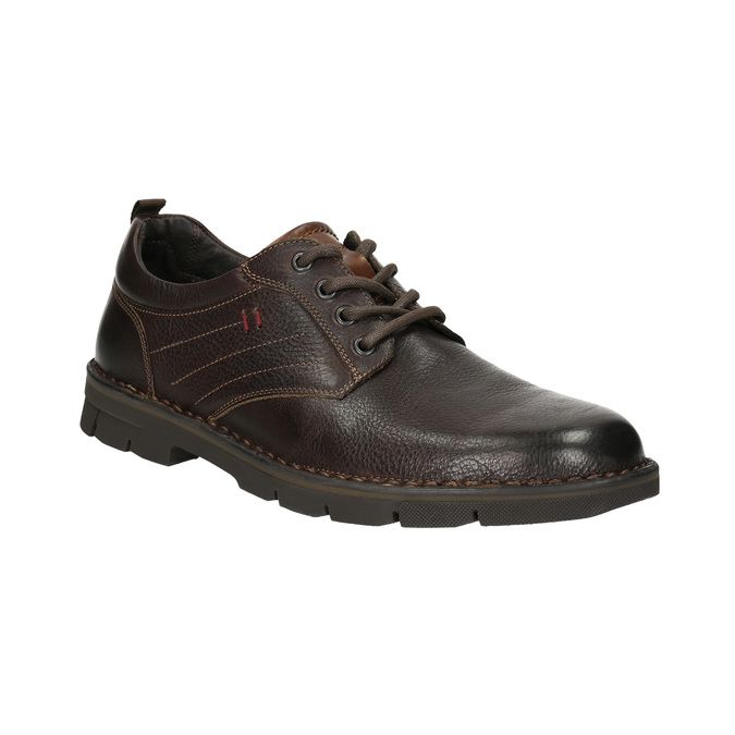 Ležérne kožené poltopánky na výraznej podrážke bata, hnedá, 824-4698 - 13