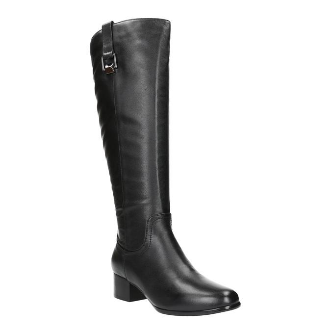 Dámske kožené čižmy na nízkom podpätku bata, čierna, 694-6634 - 13