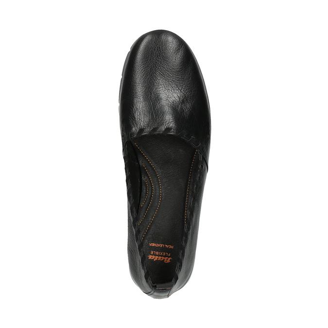 Dámske kožené Slip-on s obšitím flexible, čierna, 514-6257 - 19