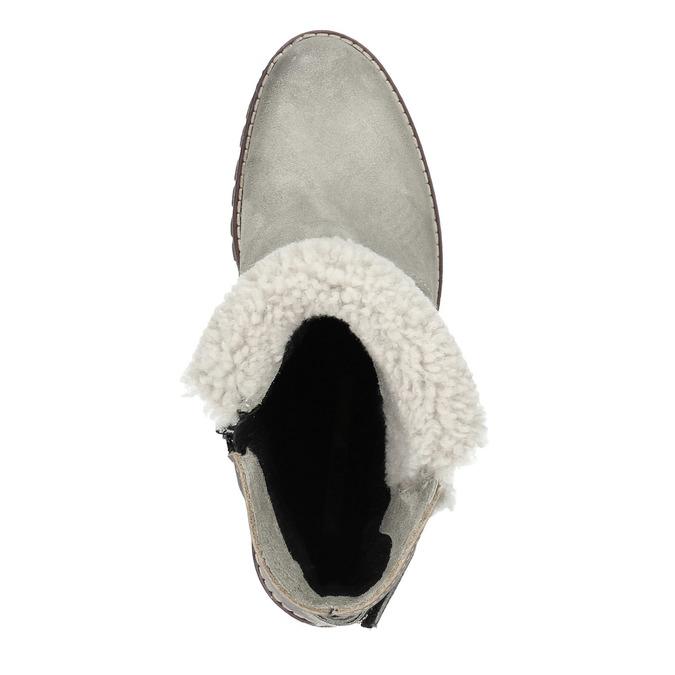 Kožená členková obuv s kožúškom manas, šedá, 696-2602 - 19